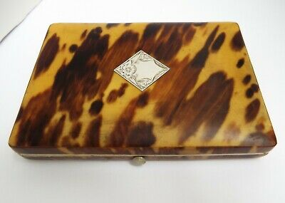Beautiful English Antique 1870 Faux Blond Tortoiseshell & Solid Silver Card Case