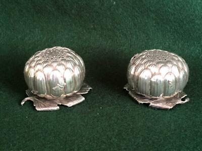 Pr 1900s Chinese Sterling Silver Artichoke Shaped Pepperettes w Cricket & Fly