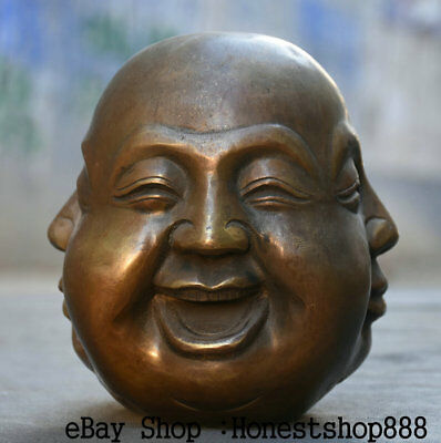 """6"""" Rare Marked Antique Old Chinese Copper 4 Faces Maitreya Buddha Head Statue"""