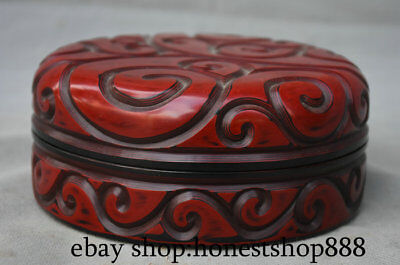 "5.8"" Collect Marked Old Chinese Red Lacquerware Dynasty Circle Jewelry box"