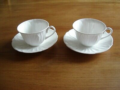 Pair Of White China Tea/Breakfast Cups & Saucers—Embossed Scallop Shell Pattern