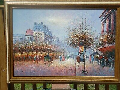 "P. Sanchez Original Oil On Canvas Framed Painting 36"" X 24"" French Cityscape"