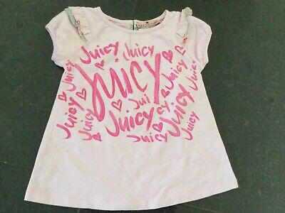 Juicy Couture New & Genuine Baby Girls Pink Cotton T-shirt Age 6/12 MTHS & Logo