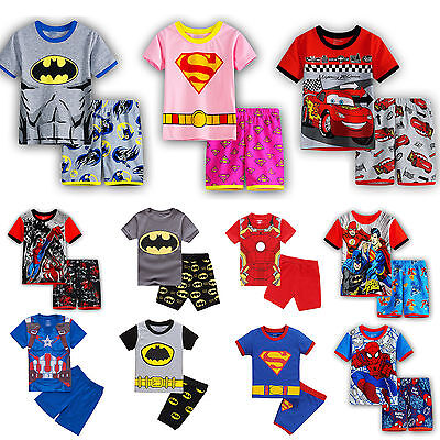 Boys Kids Short Pyjamas Batman Super Mario Short Sleeve T-Shirt Shorts Sleepwear