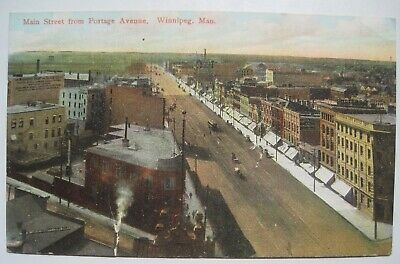 Main Street from Portage Avenue, Winnipeg, Manitoba Old 1910s Canada Postcard