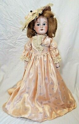 """Antique LARGE 19"""" Bisque Head Composition & Cloth Body GERMAN DOLL Sleep Eyes"""