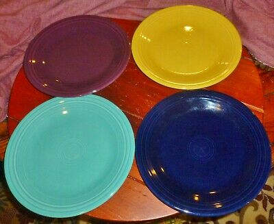 Lot/4 FIESTA WARE DINNER PLATES XX Marks=2009, Yellow, Purple, Navy & Turquoise