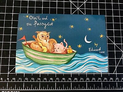 The owl and the pussy cat original illustration postcard children book4x6 inches