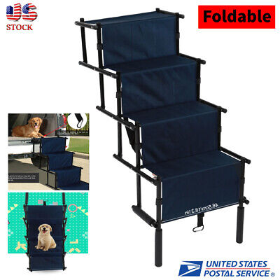 Portable Foldable Pet Puppy 4 Steps Dog Cat Stairs Ladder Climb Ramp for Bed Car