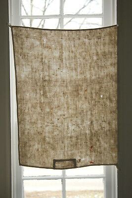 Antique Timeworn Heavy Linen Towel with a Patch