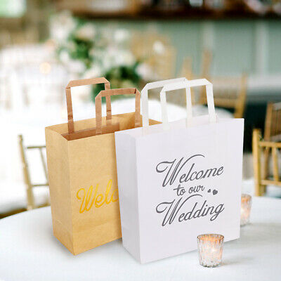 Ourwarm 5x Brown White Large Kraft Paper Gift Bags with Handles Wedding Supplies