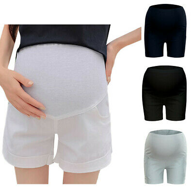 Women Maternity Pants Pregnancy Summer Solid High Waist Shorts Belly Trousers CR