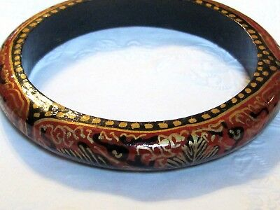 Vintage Hand Painted Russian Lacquered Wood Bangle Bracelet Red Black Gold  A