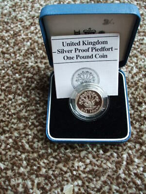 U/K Silver £1 Piedfort Coin Proof Royal Mint One Pound In Case + C.O.A 1987