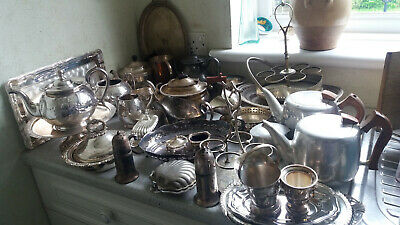 Job Lot / Collection Of Silver Plated Items  -- Tea Sets , Etc