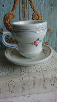 SWEET ROSES ANTIQUE FRENCH COFFEE TASSE CAFE BRULOT CUP & SAUCER c1890