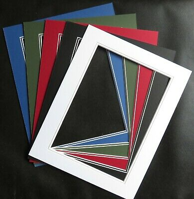 "V Groove Picture Mounts 14"" x 11"" ideal for photos size 12"" x 8"" Various Colours"