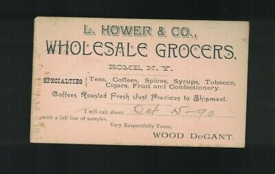 L Hower & Co Wholesale Grocery Rome NY 1890 US Postal Card Wood Degant