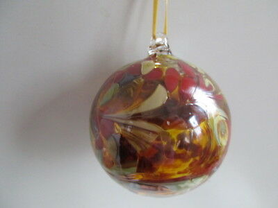 Glass Mouth Blown Spirit or Friendship Ball Mocha/Beige 8cm Boxed  Ideal Gift