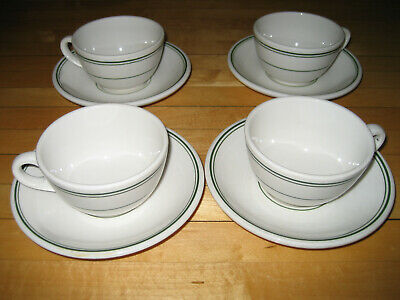 4 Antique Homer Laughlin RESTAURANT WARE Cup and Saucer White w/ Green Stripe