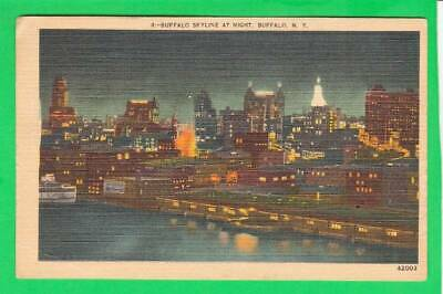 Postcard ~ Buffalo skyline at night NY ~ Vintage 7568