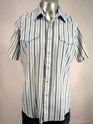 HH1986 1980s **WRANGLER** BLUE/GREY STRIPED SHORTSLEEVE PEARLSNAP SHIRT - 47