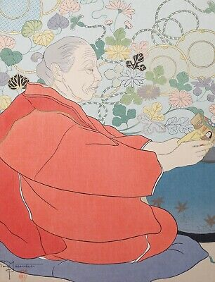 Estate Signed Paul Jacoulet Japanese Woodblock Print Memories of the Past Japan