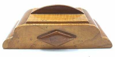 Small Vintage Art Deco Wooden DESK TIDY/STORAGE BOX W/ Wooden Inlay - SA1