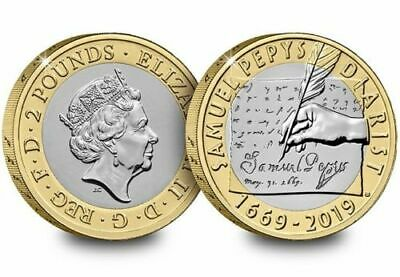 ROYAL MINT 2019 SAMUEL PEPYS DIARY  £2 Two Pound Coin BUNC ,,
