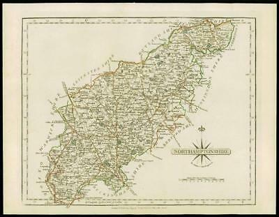 1793 Original Antique MAP of 'NORTHAMPTONSHIRE' by John Cary Outline Colour (28)