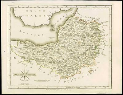 1793 Original Antique MAP of 'SOMERSETSHIRE' by John Cary Outline Colour (34)