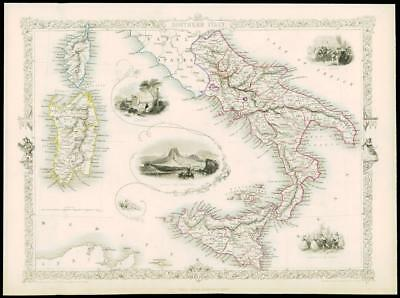"""1850 Illustrated Antique Map """"SOUTHERN ITALY"""" Sicily Sardinia by TALLIS (130d)"""