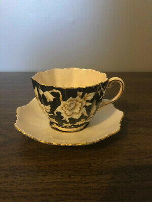 Vintage Paragon China Art Deco Black/Cream Wild Rose Cup and Saucer Teacup