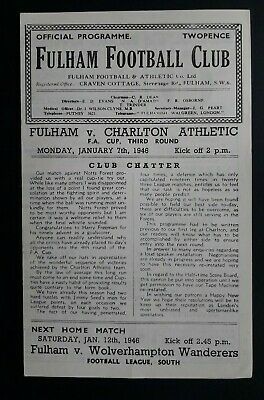 Fulham v Charlton Athletic 1945 - 1946 (FA Cup Round 3) football programme
