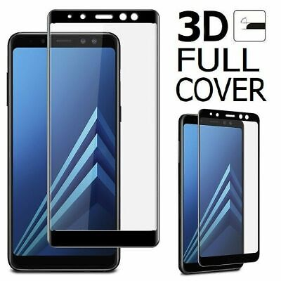 FULL COVER Black Tempered Glass Screen Protector Film for Samsung Galaxy A7 2018