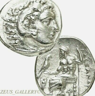 Rare LIFETIME ALEXANDER the Great Issue XF+ Ancient Greek Silver COIN Herakles