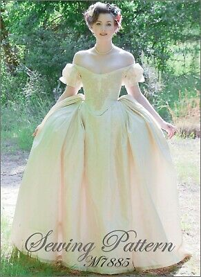 M7885 Sewing Pattern Costume Georgian Lined Bodice Dress Off Shoulder Size 14-22
