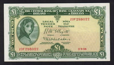 IRELAND P-57d. 1959 One Pound.. Lady Lavery..  UNC