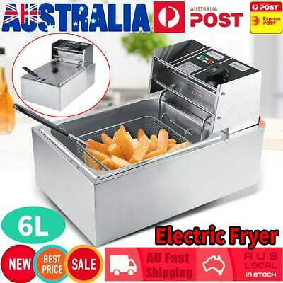 6L Commercial & Home Electric Deep Fryer Basket Chip Cooker Stainless Steel