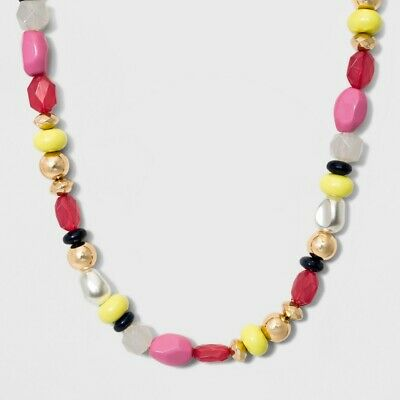 896829cbf01d1 NWT SUGARFIX BY BaubleBar Mixed Media Multi-Color Beads Statement Necklace
