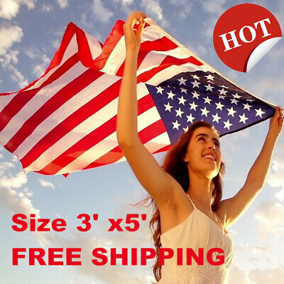 3*5 ft US American Flag Embroidered Stars Sewn Stripes Grommets Nylon 90*150cm
