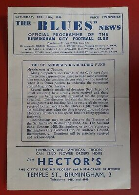 Birmingham City v Charlton Athletic 1945 - 1946 football programme (16/2/46)