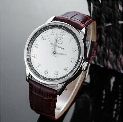New Mercedes Benz Mens Watch Stainless Steel Brown Strap White Face With Box