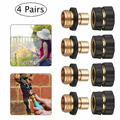 4 Pairs Garden Water Hose Tap Quick Connect Set Pressure Washer Brass Connectors