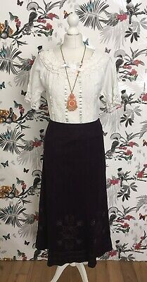 *M&S* Boho Plum Purple Suedette Floral Embroidered Skirt Size 14 Victorian