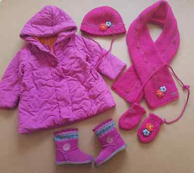 beautiful outfit coat,hat,scarf,mittens 3y genuine CATIMINI, CLARKS BOOTS 5,5F
