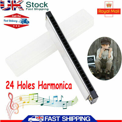 24 Hole Professional Harmonica Key of C Mouth Metal Organ for Beginners with Box