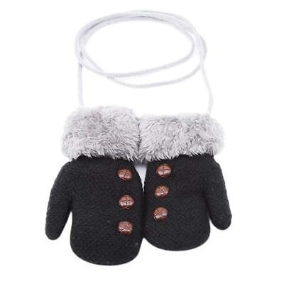 Winter Children Gloves Three Buttons Knitted Gloves With Rope Wool Velvet LA