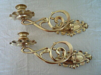 2 Decorative Brass Candlestick Holders Wall Sconce Piano Nouveau Rd 215104 C & A