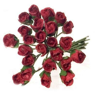 Dolls House Falcon Miniature Flowers 2 Dz Bunch of Burgundy Roses in Half Bloom